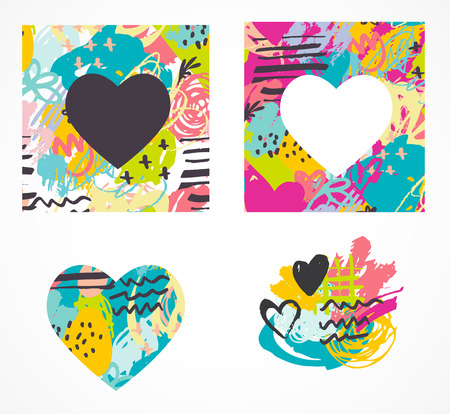colorful heart: Hand drawn, painted vector colorful heart icons collection Illustration