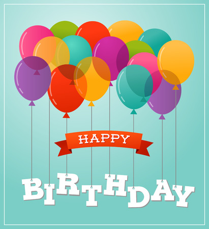 transparent background: Balloons party happy birthday greeting card and invitation Illustration