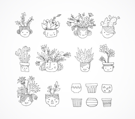 sub tropical: Cute hand drawn cactus and succulent set with faces