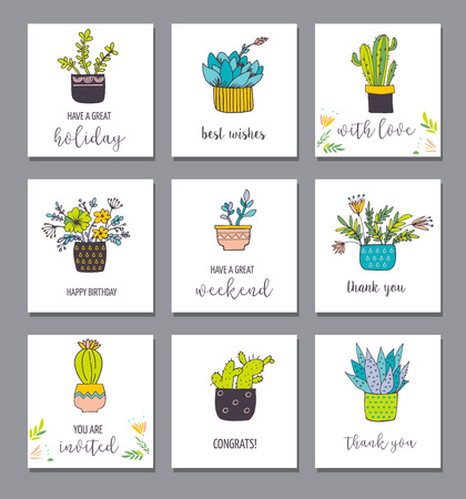 sub tropical: Cute hand drawn cactus and succulent cards set Illustration