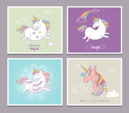 Magic cute unicorns and rainbow, birthday cards, greetings, invite