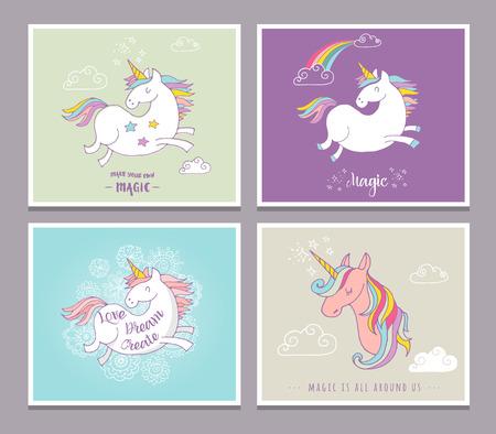 Magic cute unicorns and rainbow, birthday cards, greetings, invite