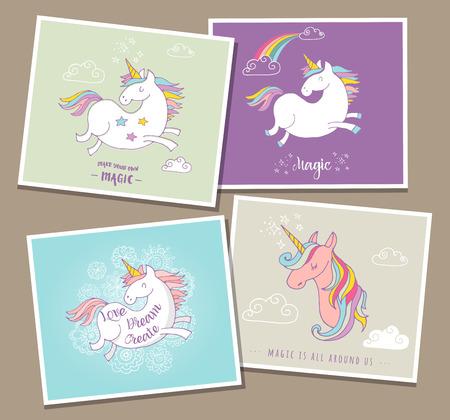 felicitaciones cumpleaÑos: unicornios mágicos lindo y arco iris, tarjetas de cumpleaños, saludos, invite Vectores
