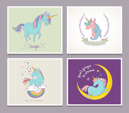belive: Magic cute unicorns and rainbow, birthday cards, greetings, invite