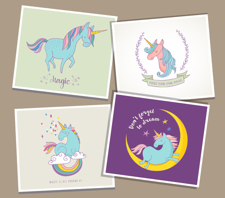 Magici unicorni carino e arcobaleno, biglietti d'auguri, auguri, invitare Vettoriali