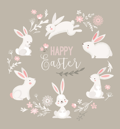 Easter design with cute banny and lettering, hand drawn vector illustration Ilustrace