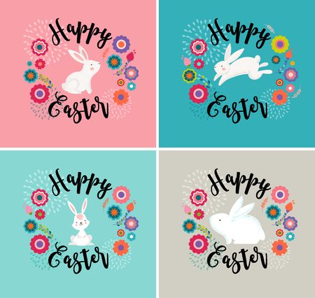 hand illustration: Easter design with cute banny and lettering, hand drawn vector illustration, greeting cards