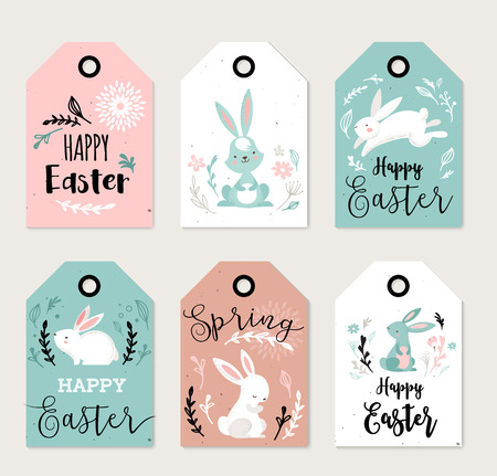 cute rabbit: Easter tags, labels with cute banny and lettering, hand drawn vector illustration, greeting cards