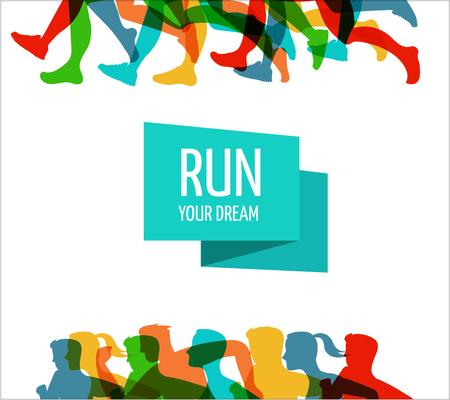 silueta humana: la carrera de maratón, la gente corre, cartel colorido y el fondo