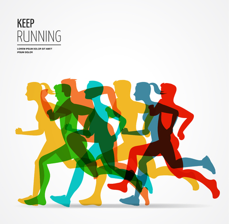 pista de atletismo: la carrera de maratón, la gente corre, cartel colorido y el fondo