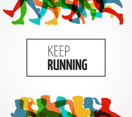 Running marathon, mensen lopen, kleurrijke poster en achtergrond Vector Illustratie