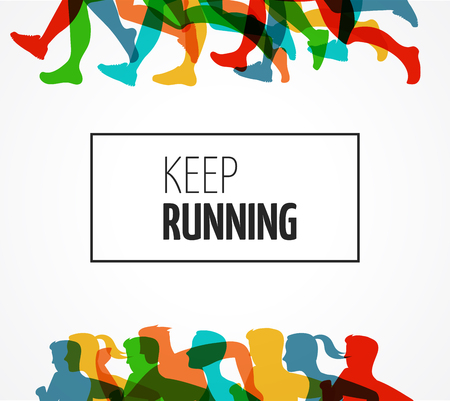 running: Running marathon, people run, colorful poster and background