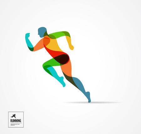 uomo rosso: uomo che corre, lo sport colorato manifesto, icona con spruzzi, forme e simboli