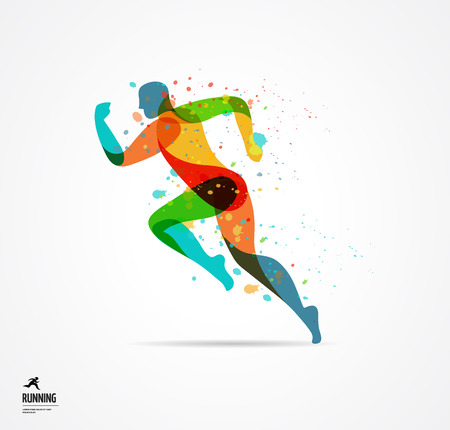 Running man, sport kolorowy plakat, ikona z odpryskami, kształtów i symboli Ilustracje wektorowe