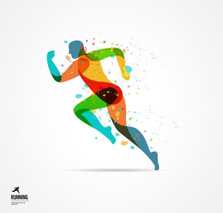 uomo che corre, lo sport colorato manifesto, icona con spruzzi, forme e simboli Vettoriali