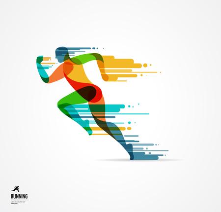 Running man, sport kolorowy plakat, ikona z odpryskami, kształtów i symboli