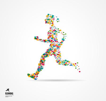 personas saltando: Hombre corriente, el deporte colorido cartel, icono con salpicaduras, formas y símbolos