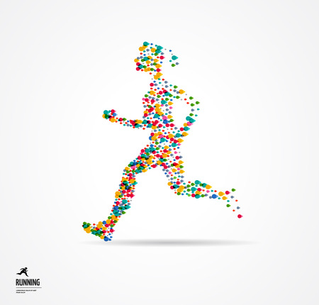 shoelace: Running man, sport colorful poster, icon with splashes, shapes and symbol