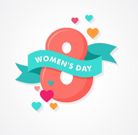 happy woman: womens day greeting card with banner and hearts