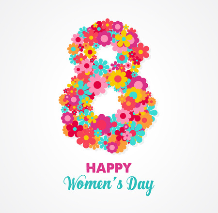 women's day greeting card with flowers Illustration