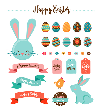 Colorful Happy Easter collection of icons, greeting cards with rabbit, bunny, eggs and banners Ilustrace