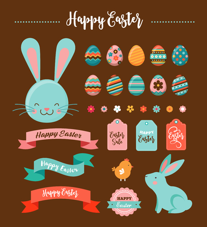 Colorful Happy Easter collection of icons, greeting cards with rabbit, bunny, eggs and banners Illustration