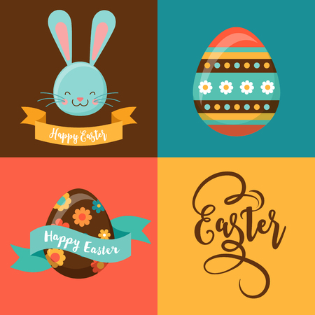 hunt: Colorful Happy Easter greeting card with rabbit, bunny, eggs and banners, tags, labels