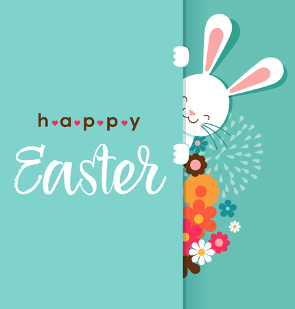 Colorful Happy Easter greeting card with rabbit, bunny, eggs and banners, tags, labels