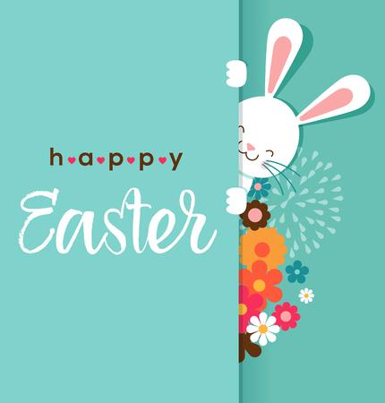 Kleurrijke Happy Easter wenskaart met konijn, konijntje, eieren en banners, markeringen, etiketten Stock Illustratie