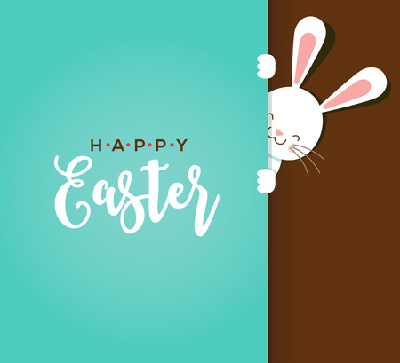 rabbit: Colorful Happy Easter greeting card with rabbit, bunny, eggs and banners, tags, labels