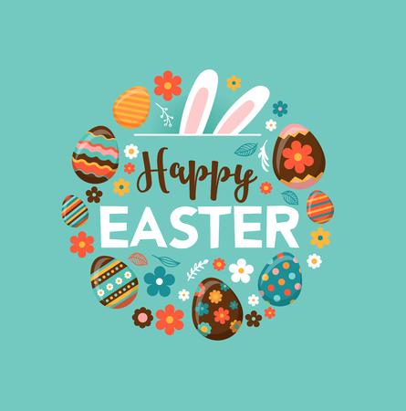 osterei: Bunte glückliche Ostern Grußkarte mit Kaninchen, Hase und Schriftzug