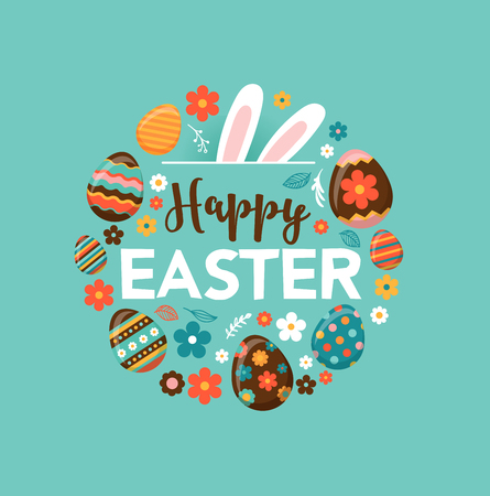 basket: Colorful Happy Easter greeting card with rabbit, bunny and lettering