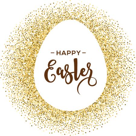 Feliz tarjeta de felicitación de Pascua con el huevo de oro con las letras Ilustración de vector