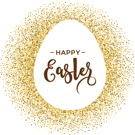 chocolate eggs: Happy Easter greeting card with gold egg with lettering Illustration