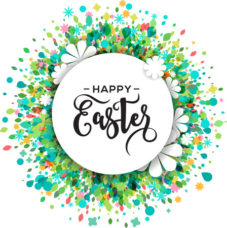 Colorful Happy Easter and spring greeting card and poster with flowers and text space