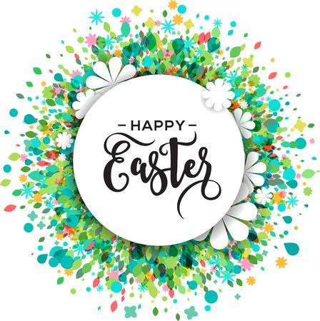 tarjeta de felicitación colorida feliz Pascua y la primavera y el cartel con las flores y el espacio de texto