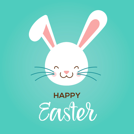 Colorful Happy Easter greeting card with rabbit, bunny and text