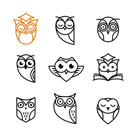 Owl, black outline icons collection