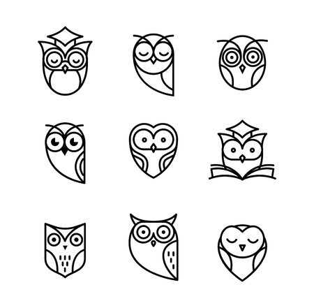couching: Owl, black outline icons collection