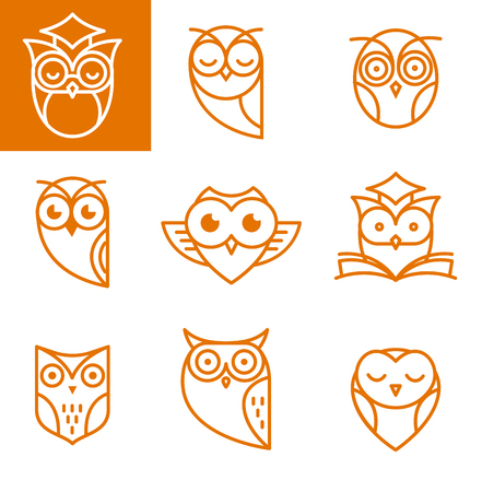 night vision: Owl, orange outline icons collection