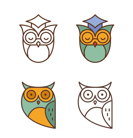 couching: Owl, colorful outline icons collection