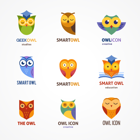 Owl, colorful outline icons collection