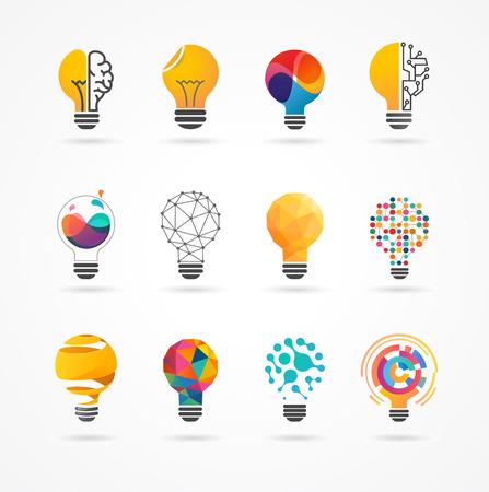 Żarówka - Pomysł, oszczędny, ikony i elementy technologiczne