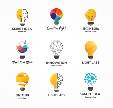 bulb light: Light bulb - idea, creative, technology icons and elements Illustration