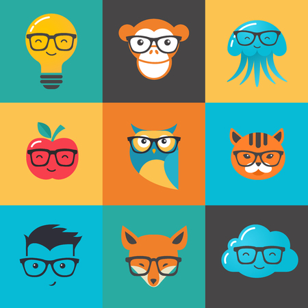 smart boy: Geek, nerd, smart hipster icons - animals, cloud, boy, man and fox Illustration