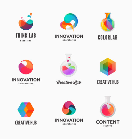 Technology, laboratory, creativity innovation and science abstract icons and elements