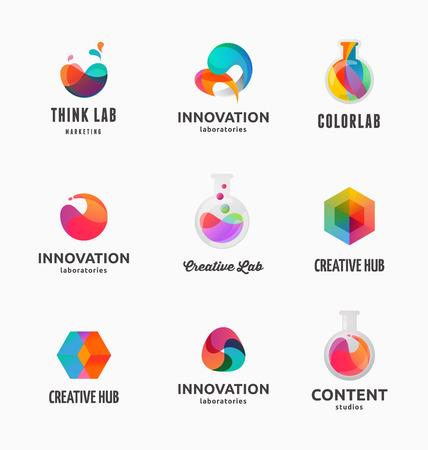 laboratorio: Tecnología, laboratorio, la creatividad y la innovación científica abstractos iconos y elementos