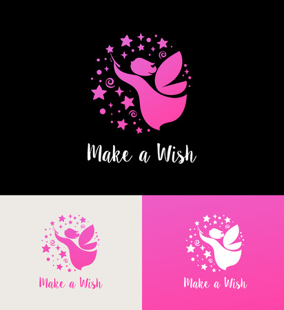 belive: Fairy with magic wand - make a wish icon, element and symbol