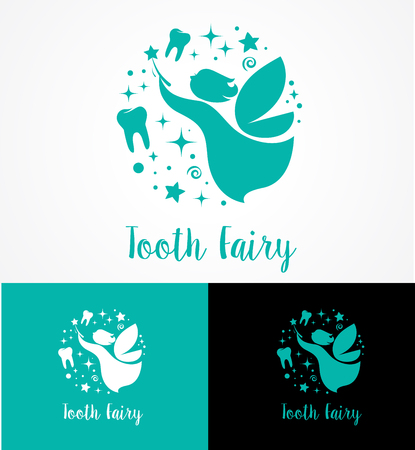 belive: Tooth Fairy with magic wand - make a wish icon, element and symbol