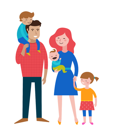 making fun: Happy family, making fun, couple with kids, vector illustration